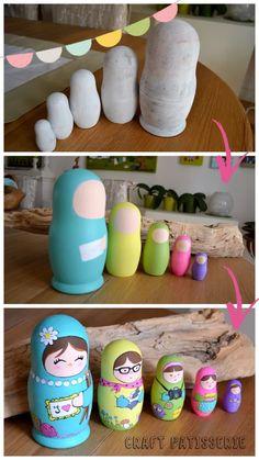Matrioske dipinte/ paited matrioskas Doll Crafts, Fun Crafts, Matryoshka Doll, Kids Wood, Wooden Dolls, Dollhouse Dolls, Bottle Crafts, Doll Face, Diy Craft Projects