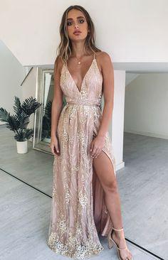 Madeline Formal Dress Rose Gold – Beginning Boutique Spring Formal Dresses, Gold Formal Dress, Gold Prom Dresses, Pretty Prom Dresses, Prom Outfits, Grad Dresses, Lace Evening Dresses, Birthday Dresses, Ball Dresses