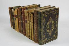 15 Antique Gilt Decorative Leather Binding Books Book Lot