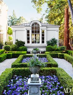 A boxwood parterre planted with violas and petunias on the grounds of a California residence created by Charlie Barnett Assoc. and decorated by Miles Redd; Elizabeth Everdell Garden Design devised the landscaping. For details see January Sources.