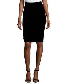 Velvet Pencil Skirt, Black