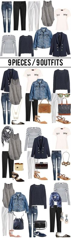 jillgg's good life (for less) | a style blog: 9 pieces / 9 outfits. Great Tip…