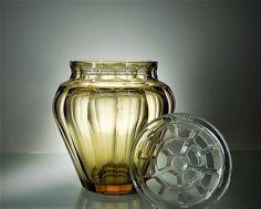 Val Saint-Lambert pique-fleurs en cristal topaze - années 30.