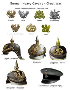 WWI Technical Reference Table The German line cavalry was divided into Prussian and Bavarian. The Prussian cavalry was divided into light cavalry:.
