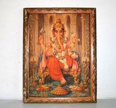 Antique Hindu God Shree Ganesha Colorful Litho Rare Print Collectible