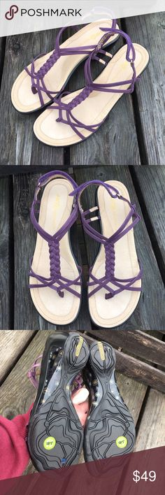 🆕List! J41 Purple Leather Wedge Sandals! NEW! Vegan braided leather. Synthetic heel/sole. Recycled materials. Size 10. New in box. J41 is a great brand! Please NO LOWBALL OFFERS! I'd rather keep them for myself... J41 Shoes Sandals