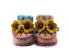 Baby Booties Knitted with Crochet Bell Flowers  by SasasHandcrafts