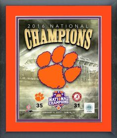 Clemson Tigers 2016 National Champions Team Logo 11 x 14 Matted/Framed Photo
