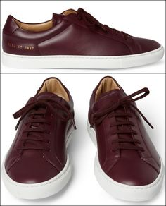 GARCON MENS STYLE FASHION BLOG BURGUNDY Common Projects Leather Low Top Sneakers
