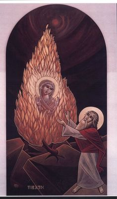 The miracle that Moses witnessed on Sinai in the burning bush  Foretold your virgin childbearing, O pure Mother.  We the faithful cry to you:  Rejoice, O truly living bush!  Rejoice, O holy mountain!  Rejoice, O sanctified expanse and most holy Theotokos!