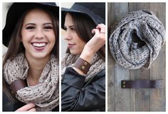 Taupe & Cream Infinity Scarf!