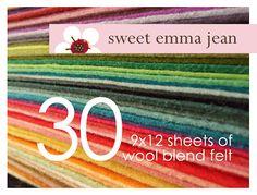 Wool Felt Sheets Choose Any Forty 40 Merino Wool Blend Blue Hosta, Ruby Red Slippers, Raspberry Sorbet, Blue Banana, Felt Sheets, Lavender Blue, Pink Grapefruit, Mellow Yellow, Color Names