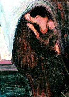 The Kiss' painting by Edvard Munch. Vintage wall art for sale Edvard Munch, Kiss Painting, The Kiss, Figurative Kunst, Kunst Poster, Gustav Klimt, Claude Monet, Art Plastique, Love Art