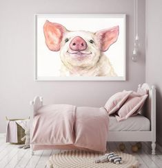 Watercolor Pig Print Pig Sign Watercolor Farm Animals Most Extra Large Wall Art, Cute Pigs, Love Painting, Dorm Decorations, Custom Paint, Farm Animals, Farmhouse Decor, Wall Decor, Watercolor