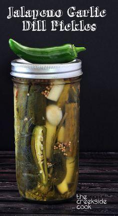 Jalapeno Garlic Dill Pickles - Refrigerator - Trending Refrigerator for sales. - Jalapeno Garlic Dill Pickles on The Creekside Cook Garlic Dill Pickles, Pickled Garlic, Kosher Pickles, Pickled Eggs, Pickle Vodka, Pickle Jars, How To Make Pickles, Making Dill Pickles, Canning Pickles