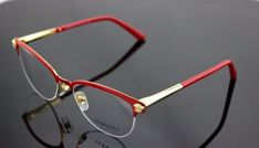 2115933f79 Authentic Versace Red Pale Gold Cat Eye Eyeglasses Frame Ve 1235 1376