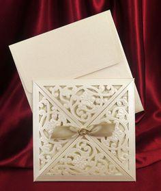 Laser Cut 100Set Wedding Invitations Cards+Envelopes + Seals
