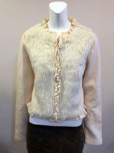 Anthropologie-Medium-Cream-Wool-Faux-Fur-Long-Sleeve-Coat-Jacket