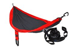 Nortwill Portable Parachute Nylon Camping Single Hammock, Ultralight, Compact, Durable (Red Charcoal, COZY - Tree Suspension Straps) Check out the image by visiting the link.