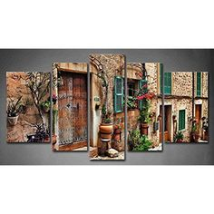 [Framed] Old Town Streets Vintage Canvas Prints Picture Wall Art Home Decor New #Firstwallart #Vintage