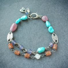 Free Spirit Bracelet, OOAK, handcrafted fine silver and gemstone jewelry.  #boho #gypsy #jewelry #freespirit #style #handmade #handcrafted #finejewelry #gemstones