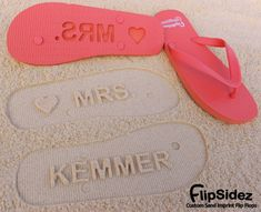 Custom Sand Imprint Bridal Flip Flops. Personalize With Your Design.. $19.95, via Etsy.