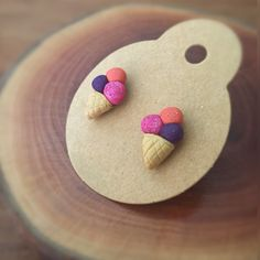 Purple pink orange polymer clay ice cream stud earrings