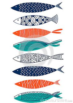 Seamless Pattern Of Fish In The Style Of Doodle Stock Vector - Illustration of climate, orange: 94404152 - Illustration about Seamless pattern of fish in the style of doodle. Illustration of climate, - Abstract Illustration, Photography Illustration, Stoff Design, Fish Drawings, Kunst Poster, Fish Patterns, Art Patterns, Fish Design, Fish Art