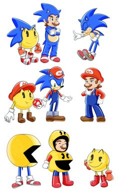 Haha Sonic in the Pac-Man suit.