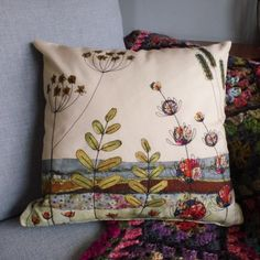English Landscape Free Motion Embroidery Cushion Cover Kit - Ideal for beginners Free Motion Embroidery, Machine Embroidery Applique, Embroidery Kits, Cross Stitch Embroidery, Embroidery Designs, Fabric Panels, Fabric Art, Sewing Art, Sewing Ideas