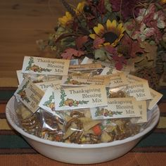 """]Have you shared your blessings with a Blessings Mix? """"Harvest of Blessing"""" theme. Small bags of snack mix with a seasonal theme, each ingredient in Blessings Mix reminds us of our blessings. Inexpensive and easy to make, Thanksgiving Favors, Thanksgiving Blessings, Christmas Blessings, Happy Thanksgiving, Thanksgiving Recipes, Holiday Recipes, Holiday Treats, Holiday Fun, Party Treats"""