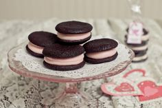 chocolate whoopie cookies with pink vanilla buttercream from Magnolia Bakery