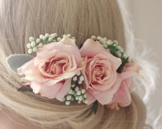 Light pink rose wedding hair comb pink floral by HollyHoopsArt