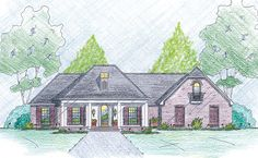 <ul><li>Brick veneer and a 4-columned front porch create an impressive front elevation of this split-bedroom house plan. The side-entry garage makes the home suitable for a wide or corner lot.</li><li>Inside, 10-foot ceilings unite the foyer and dining room.Nine-foot ceilings prevail elsewhere.</li><li>In the living room, notice the built-in media center next to the fireplace. From here, you can access a covered porch in back that leads to a spacious terrace.</li><li>The master suite…