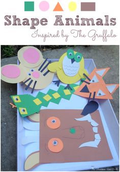 Gruffalo Themed Shape Animals Inspired by Author Julia Donaldson. A fun way to include math, art and a book!