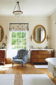 Antique Regency Drawers as vanities in Country Bathroom. Country Bathrooms on HOUSE. Inviting rooms decorated with the hallmarks of the English country house look.