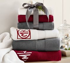 Grey, Red, & White theme continued for spare bathroom