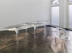 Liquid Glacial, Zaha Hadid, We are pleased to announce the first solo exhibition of the Iraqi architect and designer Zaha Hadid at JGM. Acrylic Furniture, Glass Furniture, Furniture Design, Zaha Hadid, Design Tisch, Table Haute, Glass Table, Furniture Inspiration, Interiores Design