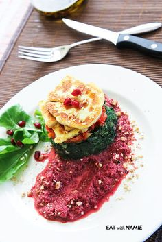 Halloumi Spinach Stack with Garlicky Beetroot Hummus Recipe on Yummly