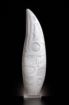 "Gathering Powers by Preston Singletary, 30.5""h x 8.5""w x 6""d, blown and sandcarved glass, 2013"