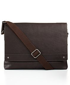 Kenneth Cole New York Leather Laptop Messenger Bag