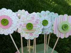 Spring Flower Cupcake Toppers  12 Paper Button by pauladesigns, $10.00