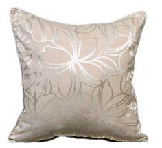 Silver Flowers - 16x16 Beige & Silver Silk Jacquard Throw Pillow.