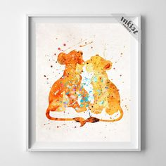 Simba and Nala, Lion King Disney Watercolor Art Print. Prices from $9.95. Available at www.InkistPrints.com - #disney #inkistprints #watercolor #giftidea #disneyart #disneygift #babyshowergift #giftforher #homedecor #wallart #poster #print #christmasgift #nurserydecor #babygift #valentinesdaygift #painting #dormdecor #Simba #Nala #lionking