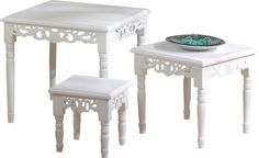Cottage Chic 3 Piece Nesting Accent Tables