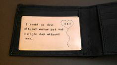 Hand Stamped Wallet Insert Card - Customized personal messages - Gift for husband, boyfriend, father and friends. by MetalandIdea on Etsy