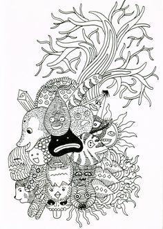 Trippy Coloring Pages page from my coloring book by razorblade