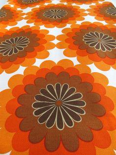 Mid Century Modern Pop Art Floral Daisy Fabric Textile 1.8 Yards / Sixties Flower Power / Retro Mod Browns Oranges on Etsy, $55.00