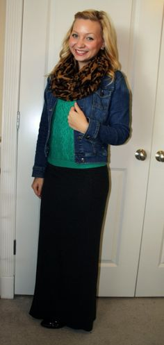 Jean jacket, animal scarf, black maxi skirt