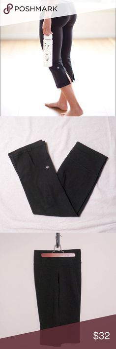 💓NEW LISTING💓 Lululemon Split Capri Pants Cool and trendy Capri pants. Fantastic for all types of workouts and casual wear. A little older and gently worn, shown in pictures, but they definitely have some years left in them! Score a deal on a high quality garment! Tag removed so as not to get in the way of wear. lululemon athletica Pants